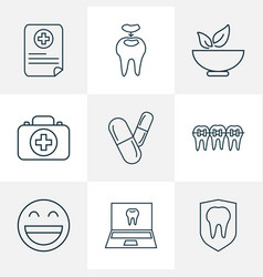 Tooth icons line style set with online dentist vector