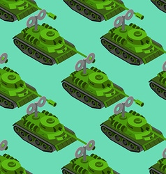 Toy Tank isometric seamless pattern Military vector