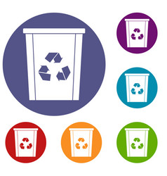 Trash bin with recycle symbol icons set vector