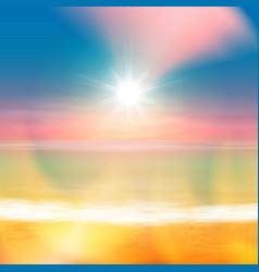 Tropical summer sea sunset beach background vector