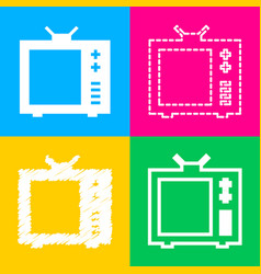 tv sign four styles of icon on four vector image