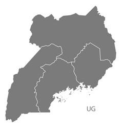 Uganda regions map grey vector