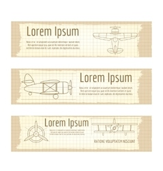 Vintage banners set with planes structure vector image