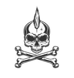Vintage monochrome skull with mohawk vector