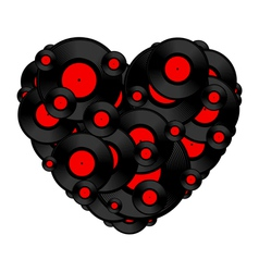 Vinyl record heart vector image