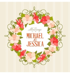 Wedding card with gibiscus flowers vector