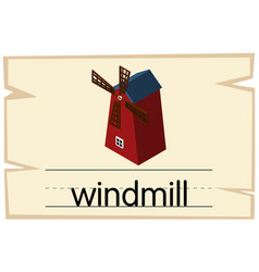 wordcard design for word windmill vector image
