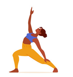 young woman practicing yoga reverse peaceful vector image