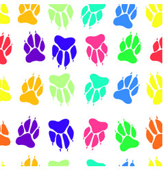 bright multicolored paw print dog imprint seamless vector image vector image