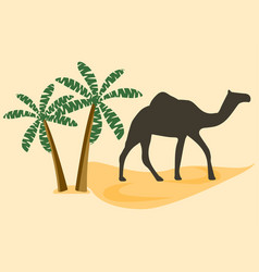 camel in the desert palm trees vector image