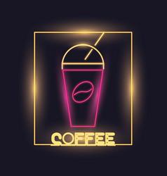 coffee neon lights icon vector image