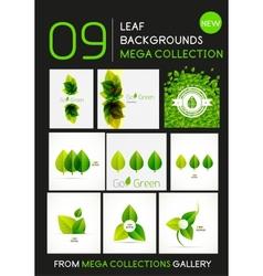 Mega collection of green leaf compositions vector image