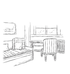 Modern interior room sketch hand drawn workplace vector image vector image