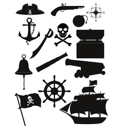 set of pirate icons 02 vector image vector image