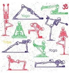 Skeleton practicing yoga vector image