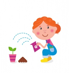 small girl is watering plant vector image