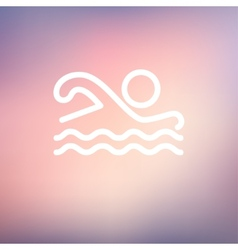 Swimmer thin line icon vector image