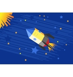 a flying rocket in the starry sky vector image
