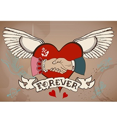 Old-school style tattoo card with heart man and vector image vector image