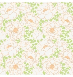 Peonies flowers with green leaves seamless pattern vector image vector image