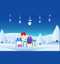 winter holiday christmas presents with ribbon bow vector image