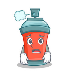 afraid aerosol spray can character cartoon vector image vector image
