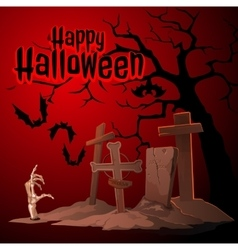 Cemetery and zombies Happy Halloween vector image vector image