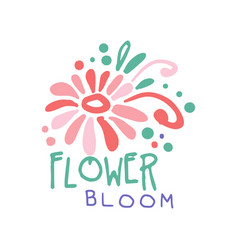 flower bloom logo template colorful hand drawn vector image vector image