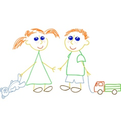 little girl and little boy vector image vector image