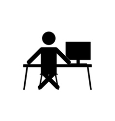 businessman sitting at the computer vector image