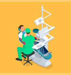 isometric dentist examining mans teeth in the vector image
