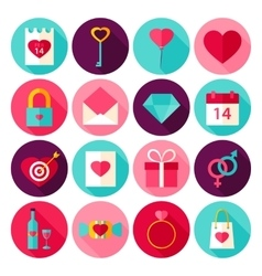 Valentine Day Love Flat Icons vector image