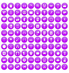 100 events icons set purple vector