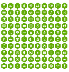 100 stadium icons hexagon green vector image