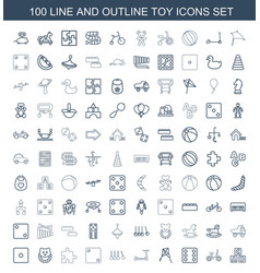 100 toy icons vector image