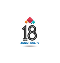18 anniversary logotype with colorful crown vector