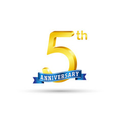 5th golden anniversary logo with blue ribbon vector