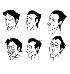 a set of emotions of a charming cartoon man in a vector image