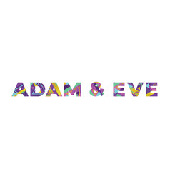 Adam and eve concept retro colorful word art vector