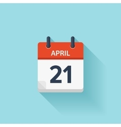 April 21 flat daily calendar icon Date vector image