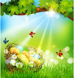 Background with Easter nest and eggs on the meadow vector