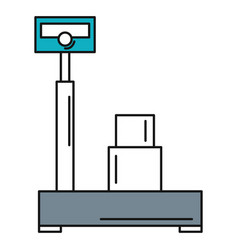 Balance scale warehouse with box vector