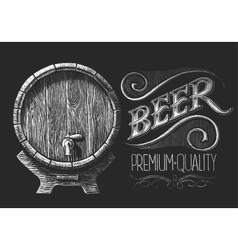 Barrel of beer on chalkboard vector