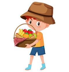 Boy holding picnic basket cartoon character vector