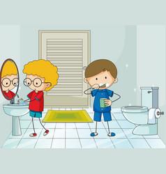 Boy in the bathroom vector