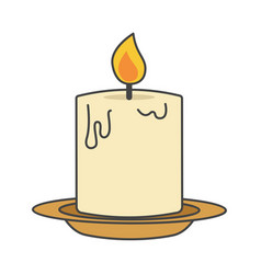 Burning candle on beige plate flat design icon vector