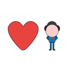 businessman character with heart color and black vector image