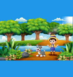 cartoon of young farmer with dog in the park vector image