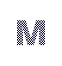 Checker pattern logo letter m vector