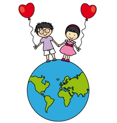Children walking on the globe vector